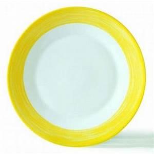 Assiette Creuse Blanche : assiette creuse ronde blanche jaune 23cm en arcopal arcoroc ~ Teatrodelosmanantiales.com Idées de Décoration