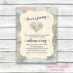 map travel bridal shower invitation love is a journey With wedding invitation wording journey