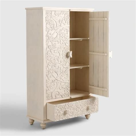 Small Clothing Armoire by White Carved Wood Floral Armoire World Market Mango