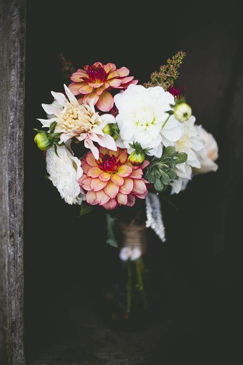 dahlia and zinnia colorful bouquet dahlia bride bouquets