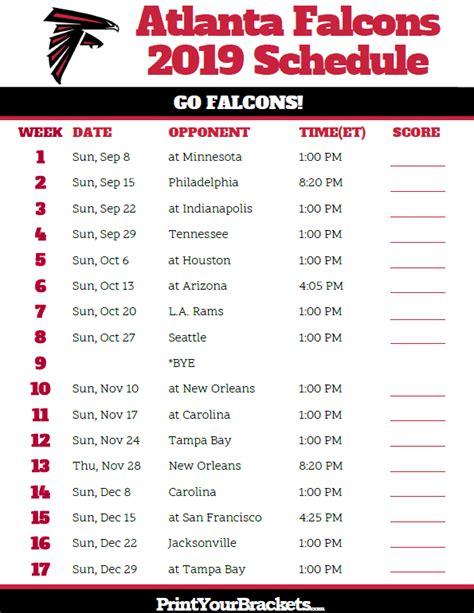 printable atlanta falcons schedule season
