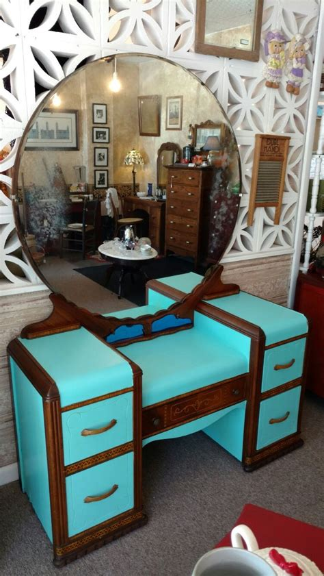 vintage  waterfall vanity furniture makeover cute