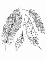 Coloring Feather Printable Indian Feathers Colorful Tribal Disimpan Dari Drawing Vector sketch template