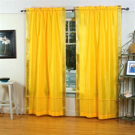 yellow sheer curtains yellow rod pocket sheer sari curtain drape panel