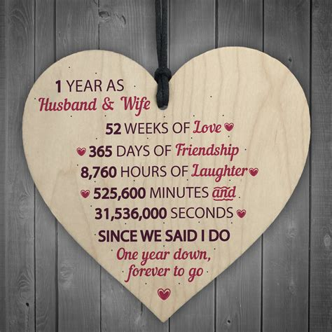 st wedding anniversary gift wooden heart  wedding