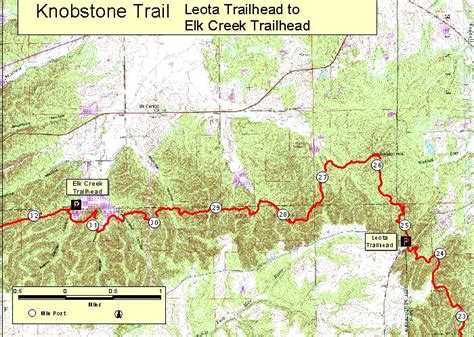 Topographic Map Of Knobstone Trail Between Elk Creek And