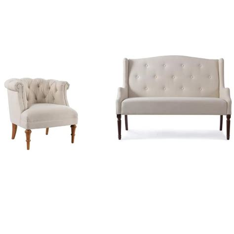 Settee And Chair Set by 2 Sofa Set With Tufted Wingback Settee And Tufted