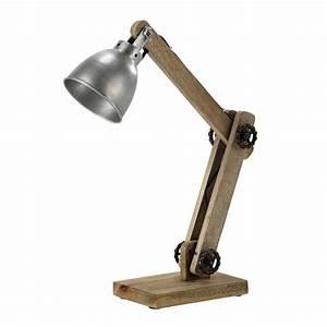 Lampe Bureau Bois : lampe de bureau orientable en bois et m tal h 53 cm dockland maisons du monde ~ Teatrodelosmanantiales.com Idées de Décoration