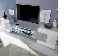 Meuble Tv Effet Beton : meuble tv moderne laqu blanc et effet b ton trivia ~ Teatrodelosmanantiales.com Idées de Décoration
