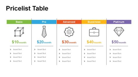 powerpoint table template price table powerpoint templates powerslides