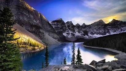 Canada Lake Moraine Wallpapers Resolution Alberta Mountain