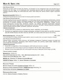 resume objective for finance executive resume sle 18 cfo finance executive resume career resumes