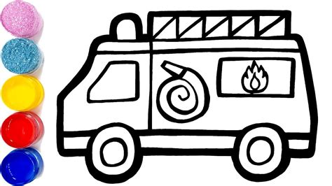 Glitter Toy Fire Truck Coloring Pages Learn Colors For
