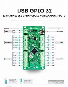 32 Channel Usb Gpio Module With Analog Inputs