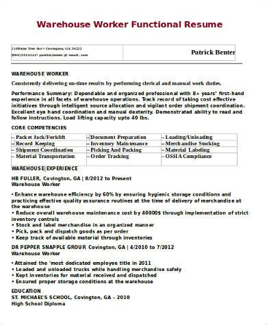 sle warehouse worker resume 9 exles in word pdf