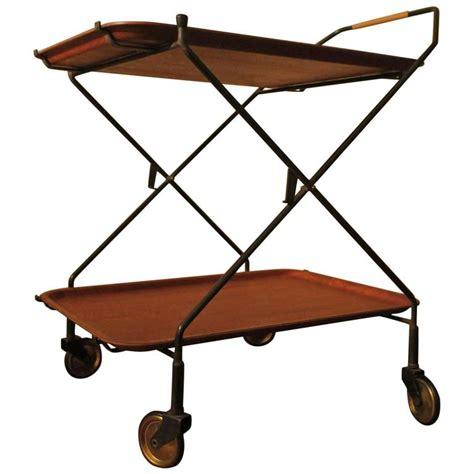 teak and metal folding serving cart or trolley