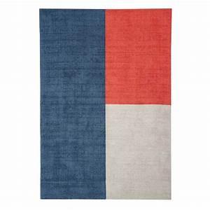 tapis moderne en laine multicolore formes geometriques With tapis beige et bleu