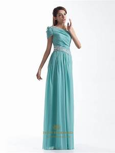 Light Blue One Shoulder Short Sleeves Long Prom Dress With ...