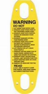 Overhead Crane Pendant Warning Label