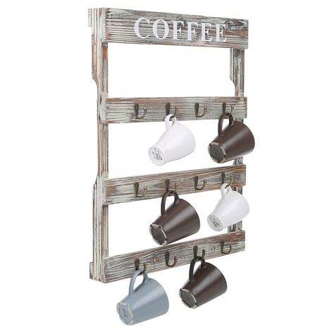 Enjoy fast delivery, best quality and cheap price. Wall Mount Coffee Mug Tea Cup Rack Holder Storage Kitchen Country Rustic Wood | eBay