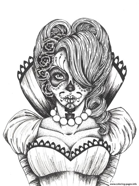 sugar skull coloring pages  adults coloring home