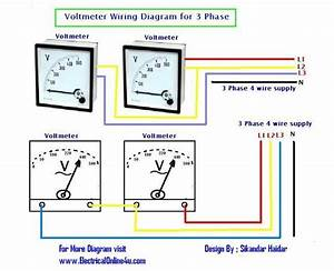Wiring Diagram Of 2 Panel Voltmeter For 3 Phase Voltage Measuring