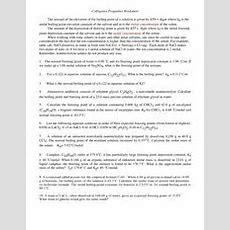 Colligative Properties Worksheet  M Cacl 2 015 M Nacl 0