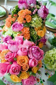 Pink and Orange Flower Arrangements