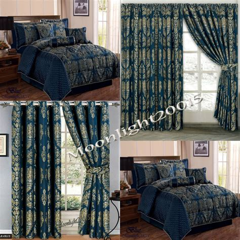Bedspreads And Drapes - jacquard luxury 7 blue comforter set bedspread