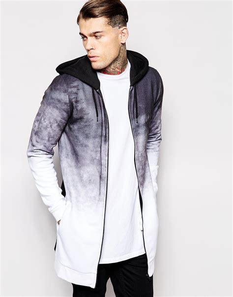 hoodie sweater pigalle asos longline hoodie with dip dye effect in black
