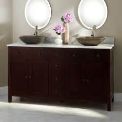 bathroom light brown wooden small double sink vanity with