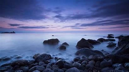 Dark Desktop Calm Sea Cloud Rocks Italy
