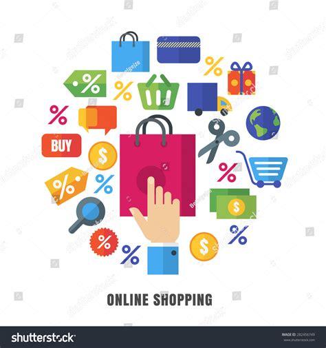 shopping vector background flat ecommerce stock