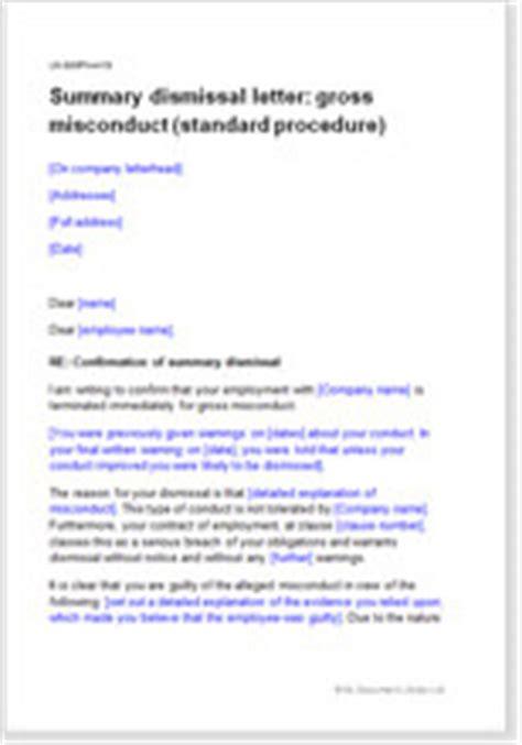 summary dismissal  gross misconduct model letter