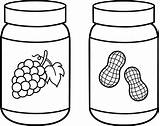 Jelly Peanut Butter Line Clip Coloring Outline Jars Sweetclipart sketch template