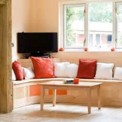 kitchen seating ideas seating area step inside a vibrant orange and maple kitchen housetohome co uk