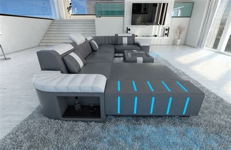 Sofa Grau Leder Big Sectional Leather Sofa Bellagio U With Led Lighting Colour Selection