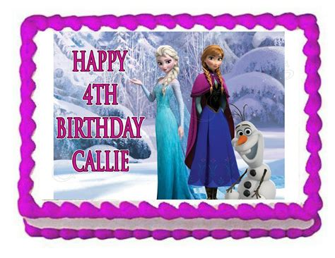 frozen elsa anna  olaf edible party cake topper