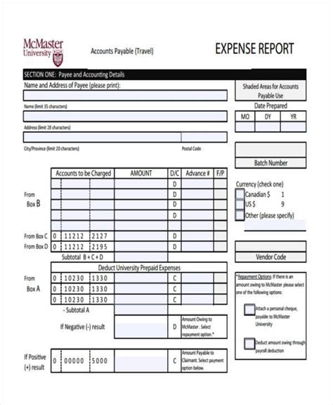 blank expense report travel expense report template