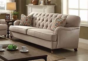 Aliza, Contemporary, Button, Tufted, Sofa, In, Plush, Beige, Fabric