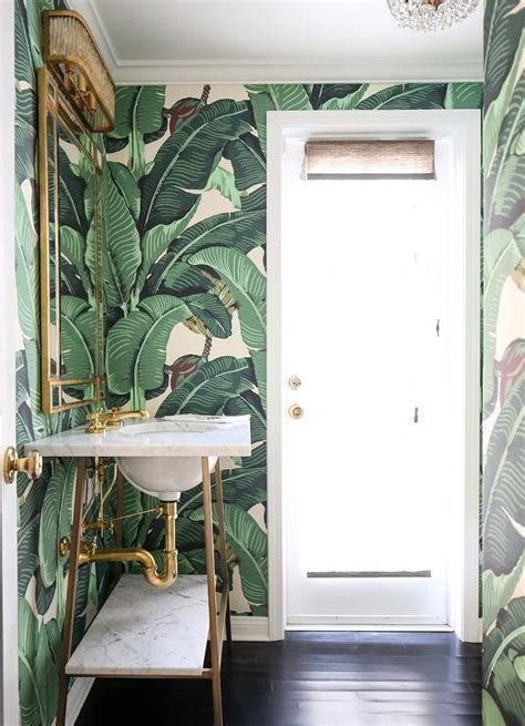 white  gold powder room  martinique banana leaf