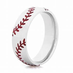 Double Stitch Baseball Ring Sports Wedding Rings