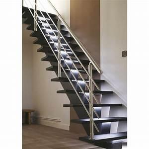 escalier droit gomera structure medium mdf marche medium With escalier metallique exterieur leroy merlin 2 escalier droit escatwin structure aluminium marche verre
