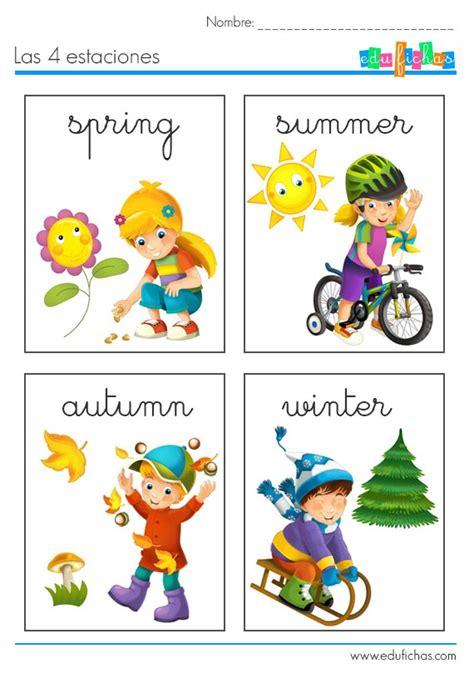 Las 4 estaciones en inglés Fichas de vocabulario para