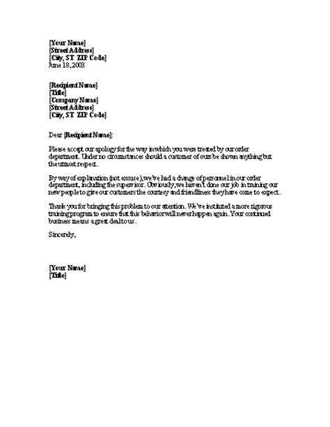 letter apologizing  client  discourteous treatment
