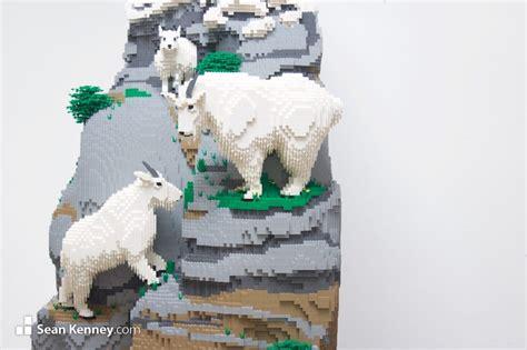 sean kenneys art  lego bricks mountain goats