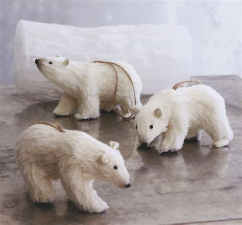 decorative polar ice bears christmas ornaments set