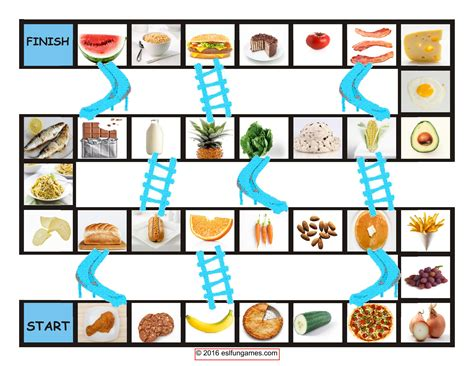 Food Types Chutes-ladders Game-esl Fun Games-fun