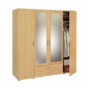 Armoire penderie rangement moderne 4 portes panel meuble for Penderie moderne