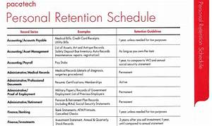 personal retention schedule With retention schedule template